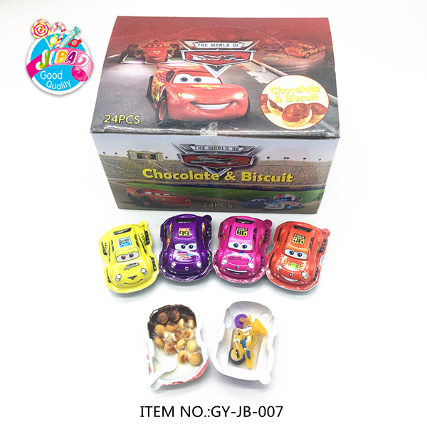 Racing Car Shape Chocolate Jam With Biscuit Ball Toy candy For Kids