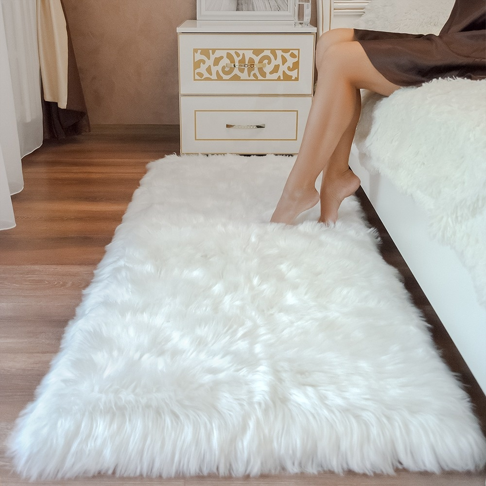 2ft*3ft luxury and soft faux fur rug white shaggy rug carpet bed room living room sofa mat area rug