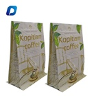Customized logo printing Resealable ziplock stand up Aluminum foil block pouches flat bottom coffee bags pouches with valve