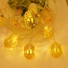 Battery USB Powered Led Metal Temple Ramadan And Eid Lantern Wall String Decoration Lights