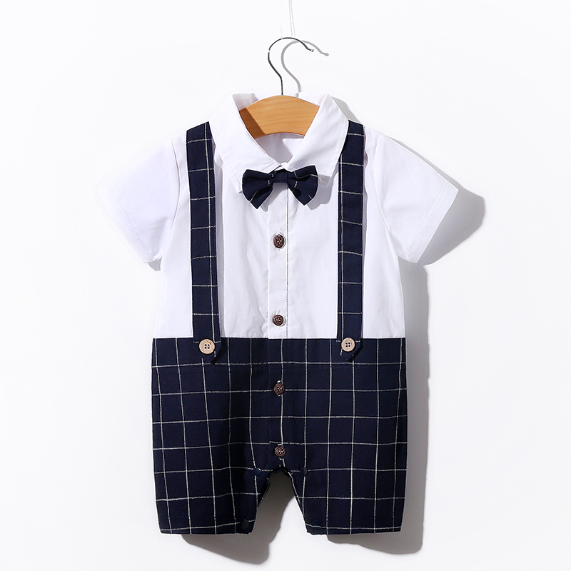 Baby boy Romper Newborn Baby Boy Romper with Dressy Style for Summer baby Summer romper with short sleeves фото