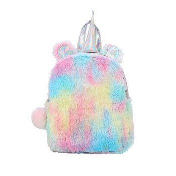 Plush Mini 3D Unicorn Backpack Soft Rainbow Velvet Soft Backbag  Sweet Toddler Kids Backpacks Cute Plush Day Pack