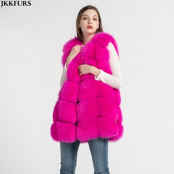 New Coming Women'r Real Fox Fur Vest Genuine Winter Warm Fur Gilets Fashion Style Waistcoat S1431