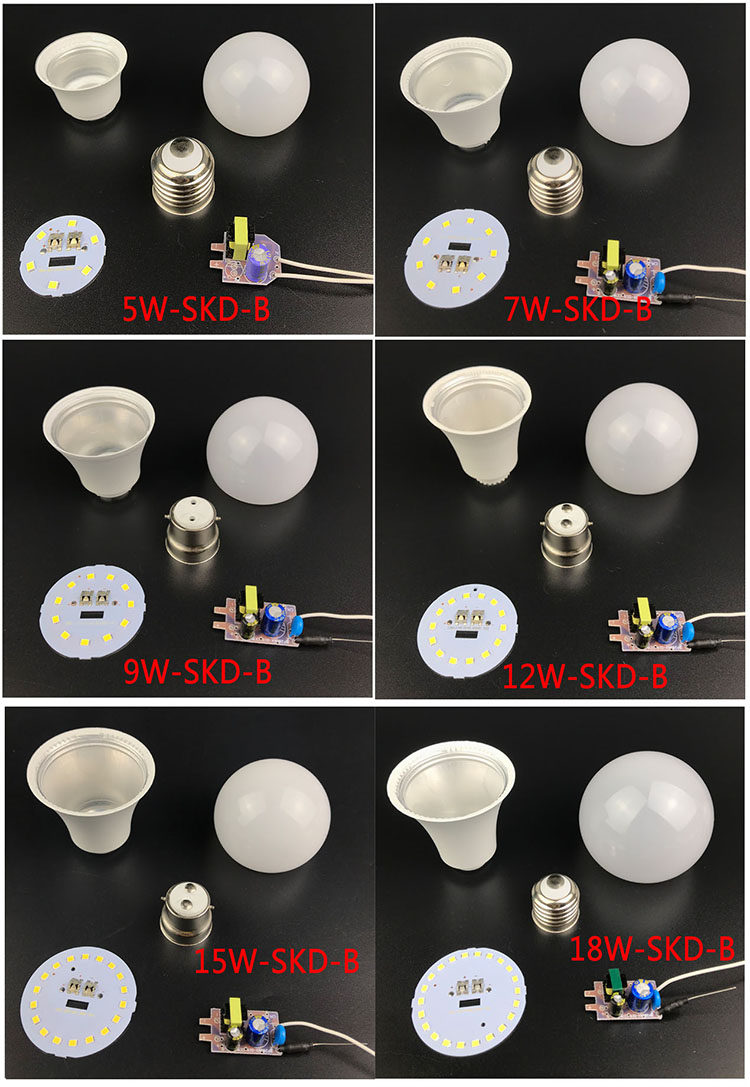 skd parts 5 - 18W 9W lamp aluminum pc housing 2835 SMD led chip skd led bulb