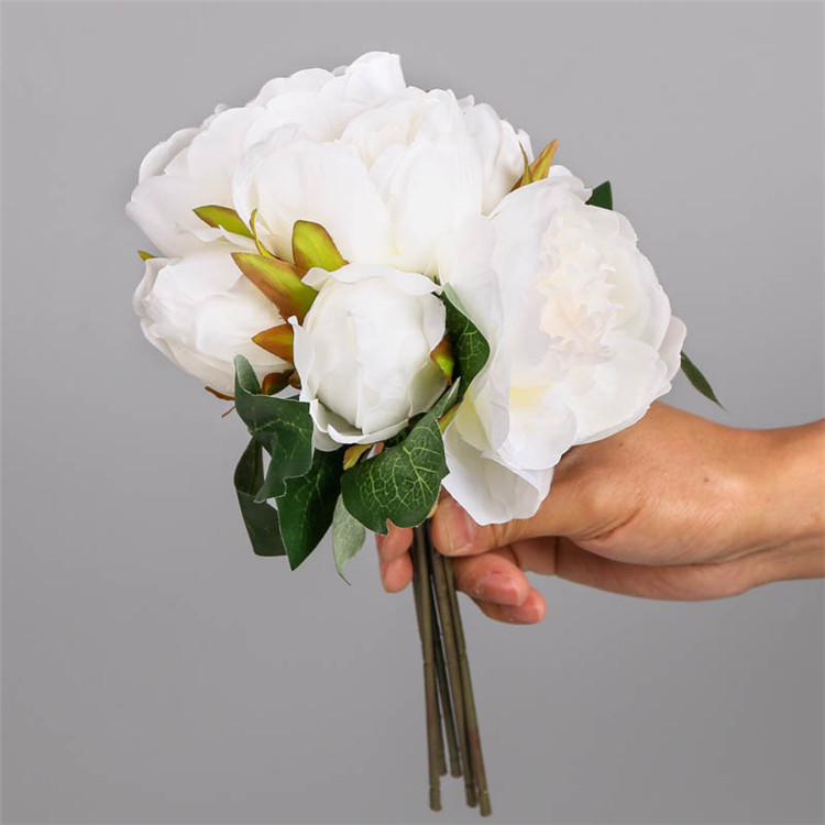 China supply 6 heads wedding silk artificial peonies flower bouquet
