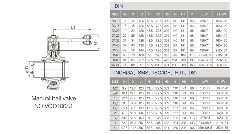 DONJOY sanitary manual butterfly type ball valve