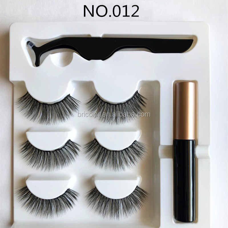 Hot selling OEM  High quality 3 pairs Magnetic eyelash with tweezer and eyeliner