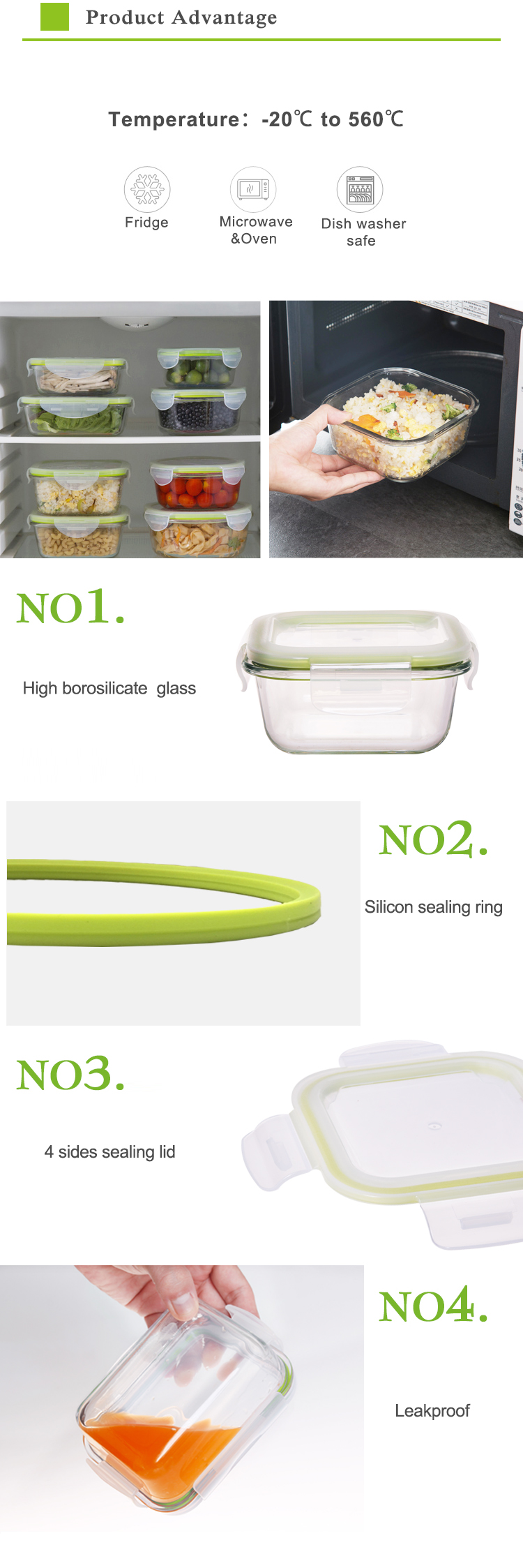 Microwavable lunch container leak proof bento box glass food storage set