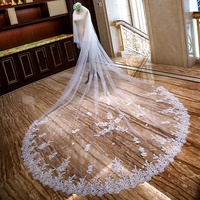 GENYA Hot Sale High Quality Wholesale Wedding Veils Long Fashion 4 Meter Long Lace Bridal Veils Bridal Accessories