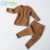 Fashion solid color cotton pit home service suit baby two piece set clothing knitted sets layette 2419