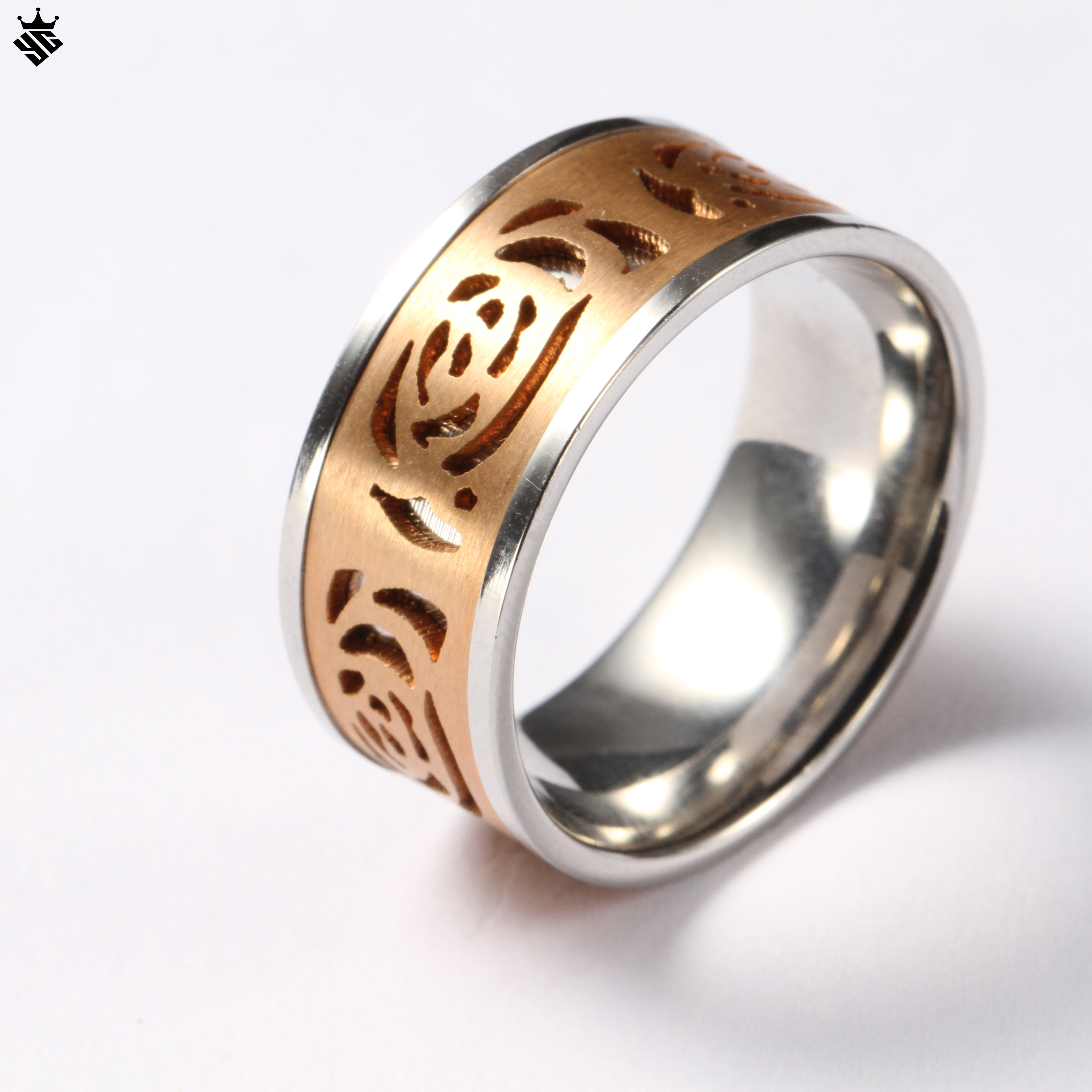 Hot selling stainless steel jewelry for wedding hollow gold inlay charm ring