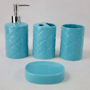 Glazed surface ceramic hand soap dispenser /soap dish set for bathroom decoration