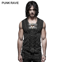 T-421 Black t shirt 2019 Personality mens shirt Leather Belt Sleeveless men t shirt