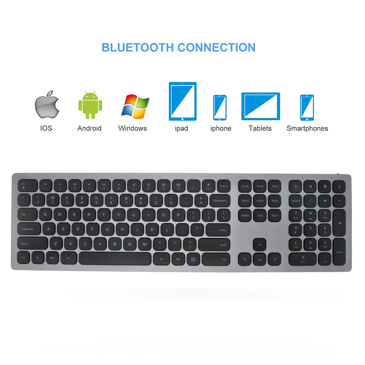 Custom abs aluminum bluetooth wireless slim office qwerty german keyboard