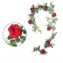 1,95 м DIY Искусственные растения подвесной ротанговый эвкалипт Monilifolia цветок листья виноградной лозы Свадебная вечеринка домашнее растение д...(Китай)