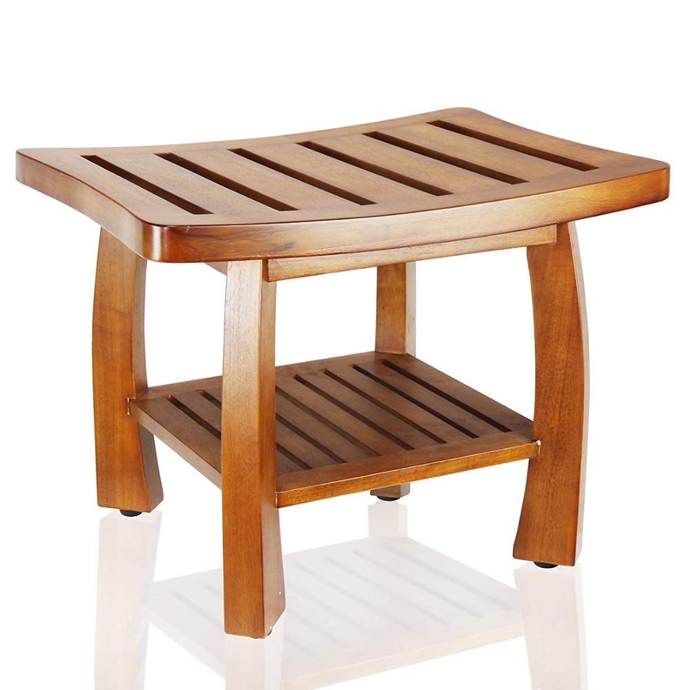 Solid Wood Spa Bench Storage Shelf For Bathroom 7