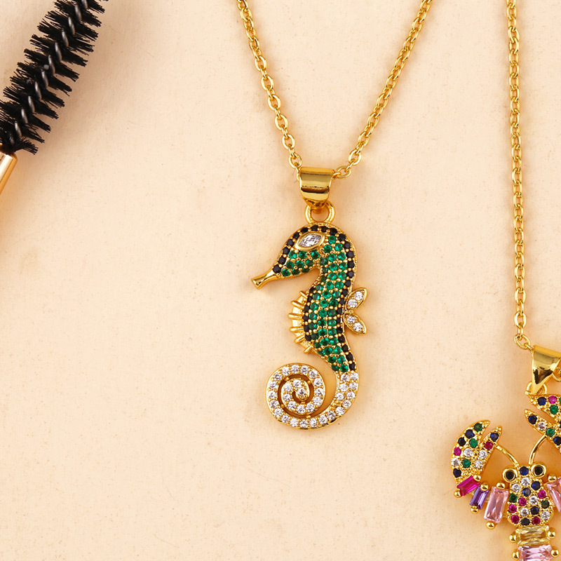 Luxury Gold Filled Rainbow Cubic Zirconia Seahorse Pendant Necklace Coloful CZ Animal Lobster Pendant Necklace For Women