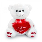 Customized Valentine Big Teddy Bear i Love You Plush White Soft Teddy Bear With Red Heart