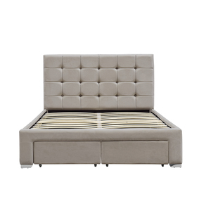 Modern latest design headboard tufted buttons King size cream velvet fabric upholstered four drawer storage bed