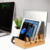 6 Slots Multi-Device Bamboo Charging Station With Watch Stand For Cell Phone, Tablet, Cords Cable Organizer