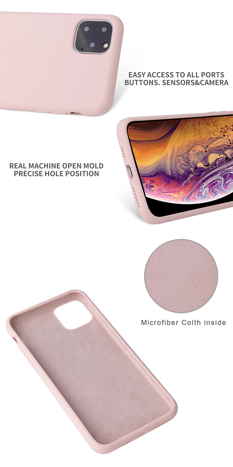 Shockproof Soft Cover For iPhone 11 Case Original Quality Genuine Liquid Silicone Case Microfiber inside iPhone X Phone Case