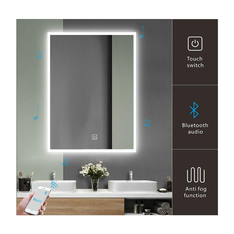 Customized anti-fog wall mounted magnifying bluetooth makeup mirror led light smart mirror with bluetooth speaker