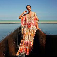 Женское пляжное платье с глубоким v-образным вырезом и рукавом летучая мышь, Шифоновая туника большого размера, пляжная одежда, макси платья...(Китай)