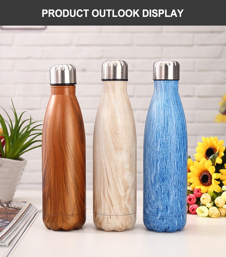 Roestvrijstalen waterfles 500 ml 750 ml thermos cola vorm vacuun kolf waterfles