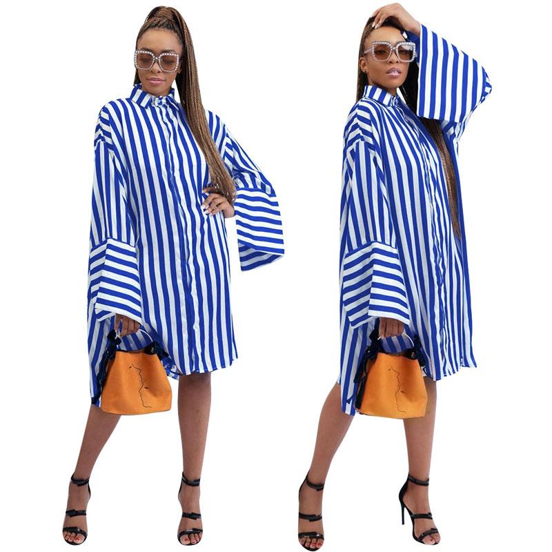 90716-MX56 flare sleeve plus size striped shirts casual dresses фото