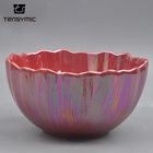 Special design handmade ceramic shinning red luxury soup serving salad bowl