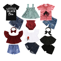 Various design children clothes boutique summer kids baby girl clothing set
