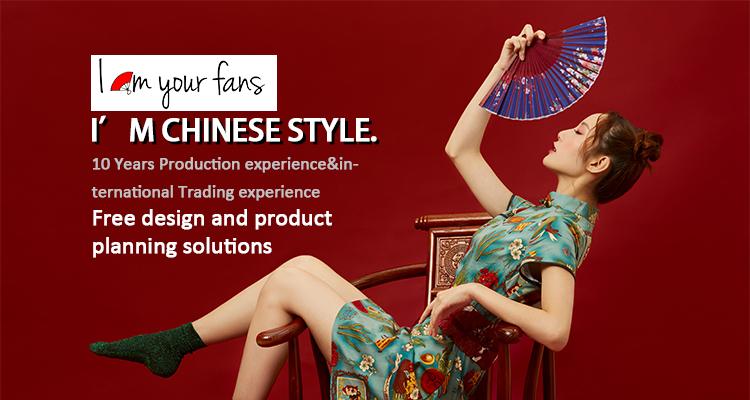 [I AM YOUR FANS] 33cm Large Ravespanish style Nylon-Cloth Festival Gift Dance kungfu Bamboo Folding hand fan