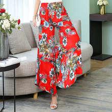 Цветные повседневные свободные 28 широкие женские брюки с высокой талией для женщин размера плюс летние дышащие богемные расклешенные брюк...(Китай)