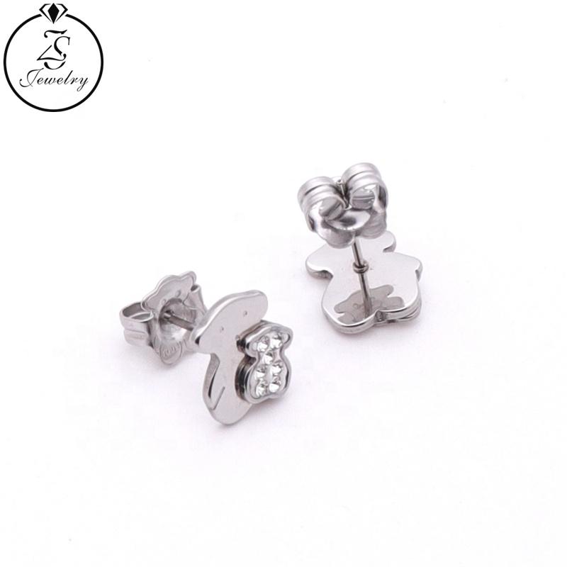 Silver Earring Studs Classic Stainless Steel Jewelry Animal Rhinestone Earrings Hot Sale Earrings