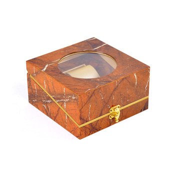 Wooden Box Glass Top Large Marble Pattern Unique Watch Display Case