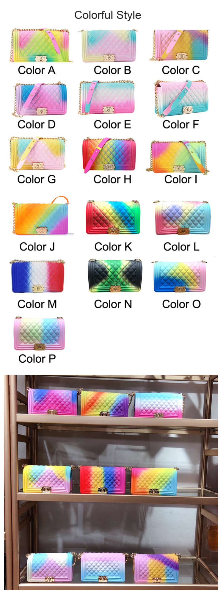 Osgoodway2 Hot Wholesale Fashion Rainbow Luxury Shoulder Chain Bags Colorful Diamond Jelly Handbags for Women