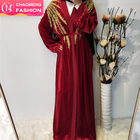 1701# Turkey Muslim Women Long Tops Outerwear Ethnic Clothes Islamic For Woman Robe embroidery Cardigan Maxi Coat