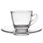 Best selling glass coffee tea cup and saucer plate set