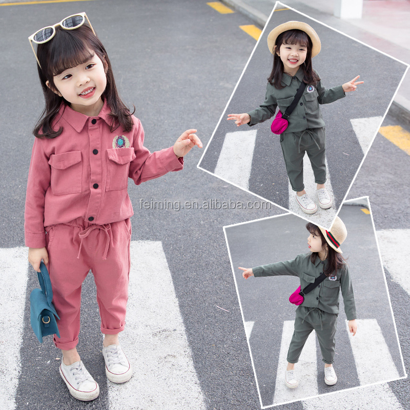 High quality fall boutique girls clothing Sets girls long sleeve top +pant outfit Children Clothes