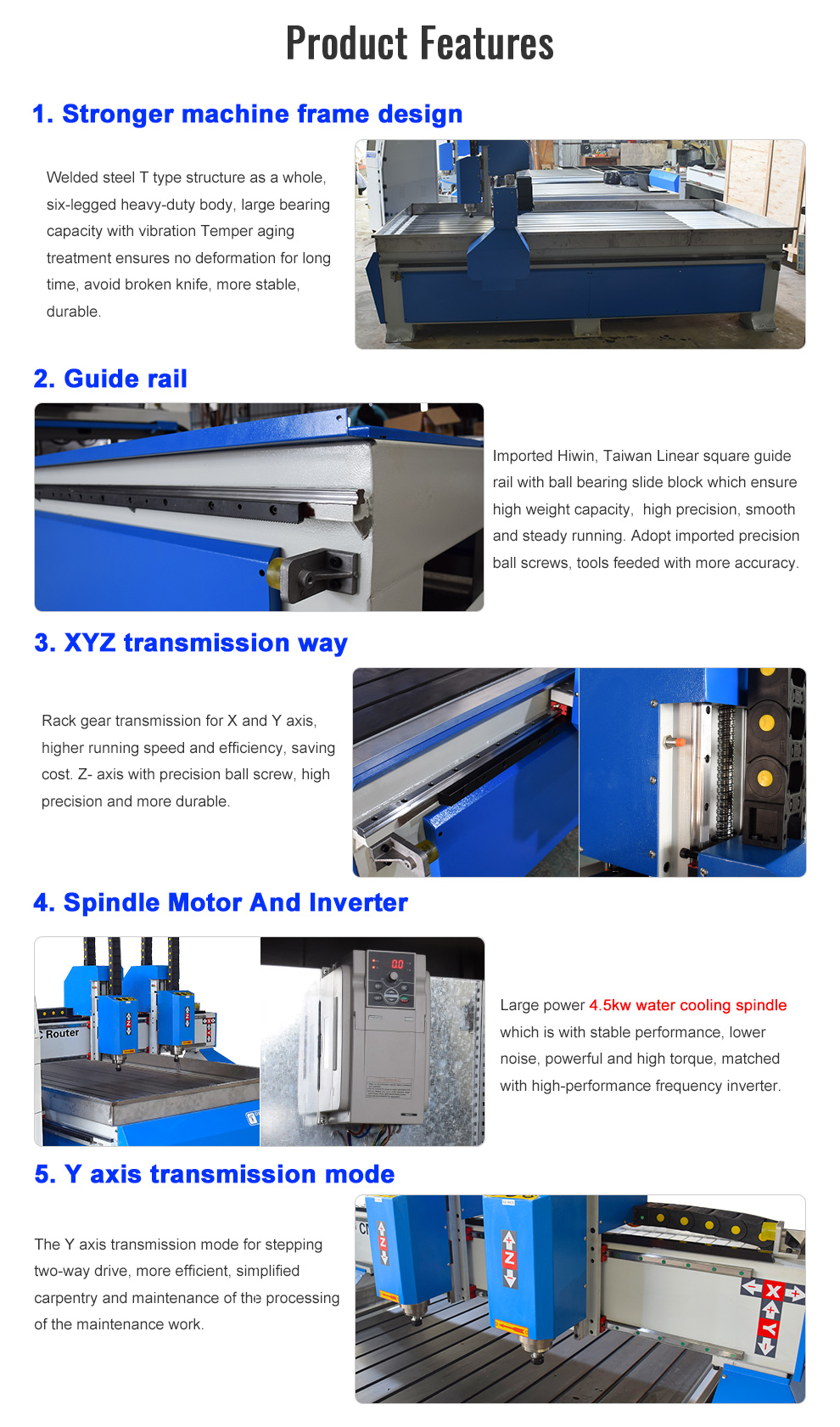 Router CNC Double Heads 3 Axis Woodworking Cutter Machine
