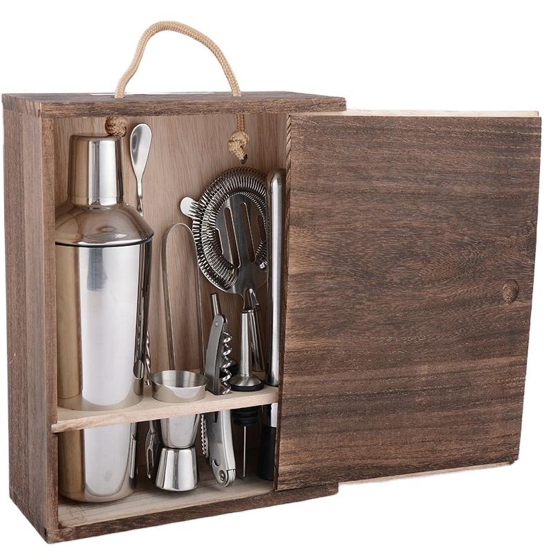 DX нержавеющая сталь 9 шт шейкер для коктейлей миксер бармен набор барных инструментов набор с деревянной коробкой
