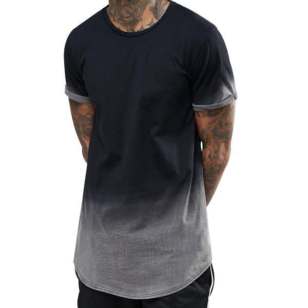 कपड़े निर्माता क्रू गर्दन 100% कपास पुरुषों घुमावदार हेम डुबकी डाई टी शर्ट