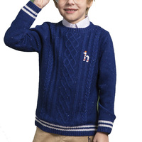 high quality wholesale custom cheap O-neck knitted pattern boy sweater
