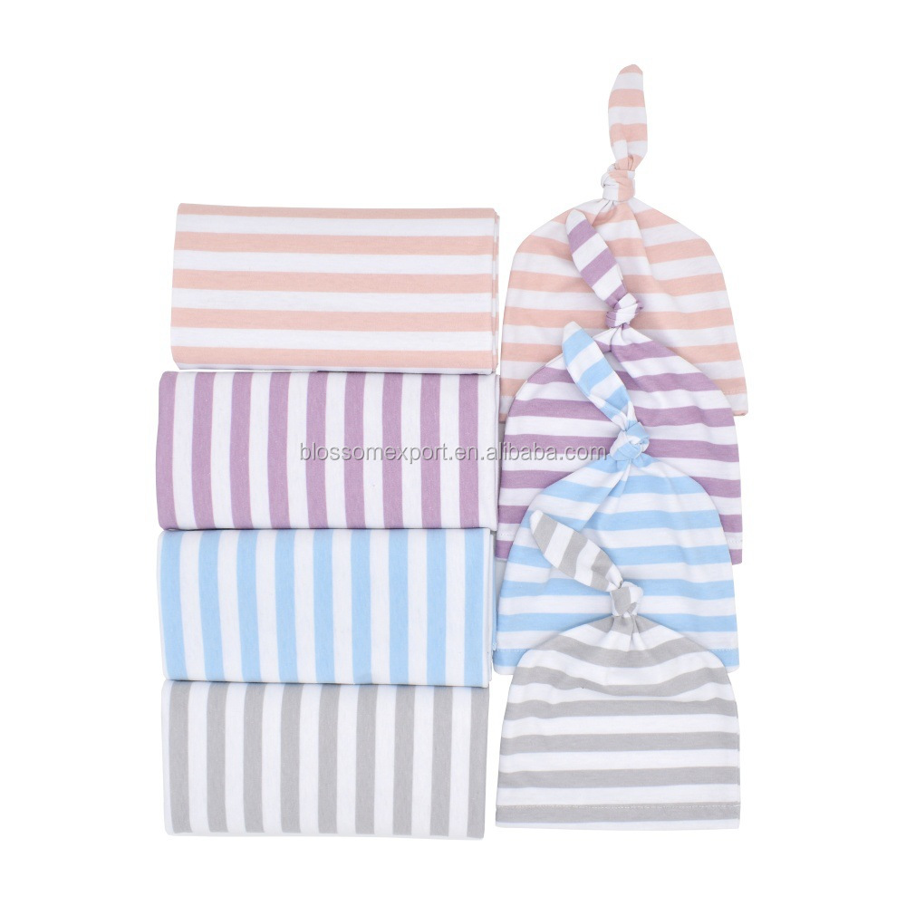 Newborn Cotton Striped Swaddle Wrap And Knotted Cap Baby Blanket Wrap Set