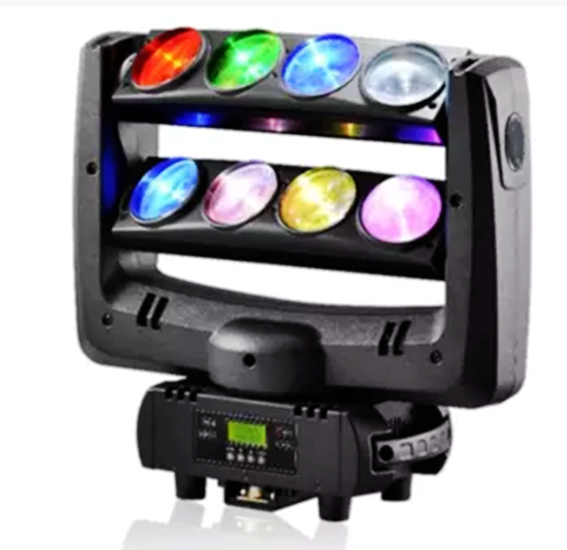 Chinese starry projector light 8*10W RGBW 4in1full color led up down spider party light dj beam moving head light for night club