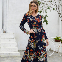 New V-neck bohemian dress large size long-sleeved floral casual ladies dress long skirt
