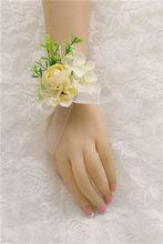 Жених мужской бутоньерка корсаж булавка Шелковый цветок подружки невесты браслет на запястье брошь цветок свадебный цветок мужской костюм...(Китай)