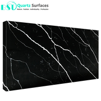 Black Body Artificial Quartz Stone with White Veins