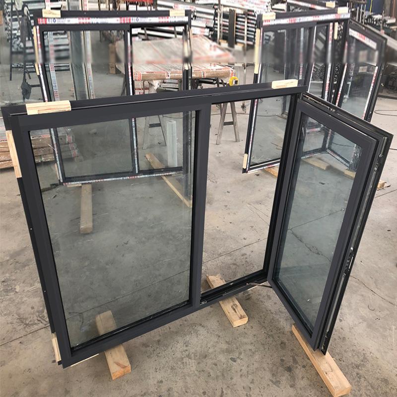 โรงงานจีนMade doorwinอลูมิเนียมสีดำคู่แก้วเอียงและเปิดcasement Windows