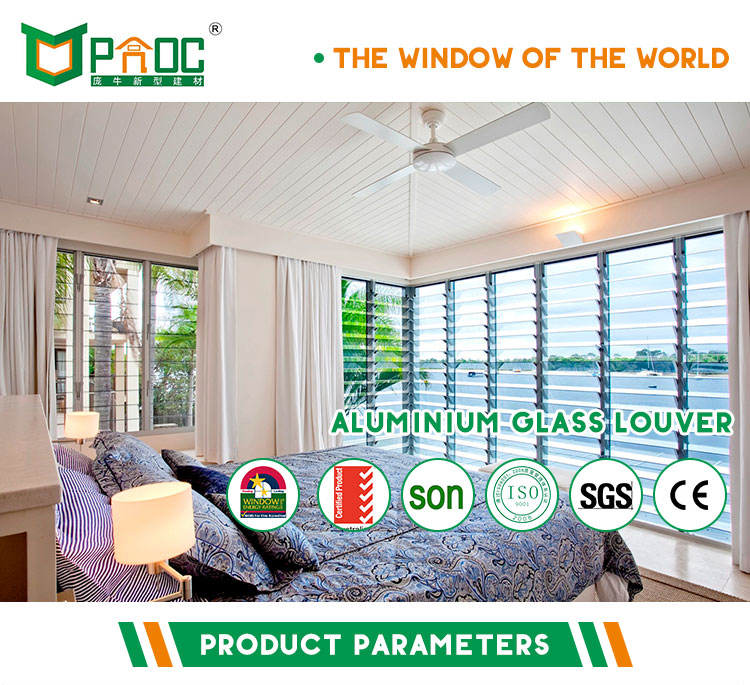 Aluminum Frame Glass Moveable Louvers Jalousie Window With Single Glass And American Hardware